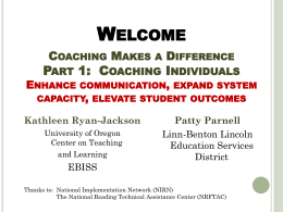 Welcome Coaching Makes a Difference: Part 1
