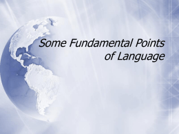 Some Fundamental Points of Language