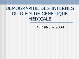 DEMOGRAPHIE DES INTERNES DU D.E.S DE GENETIQUE …