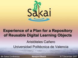 Diapositiva 1 - Sakai Project