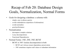 Database as Model - University of Maryland, College Park