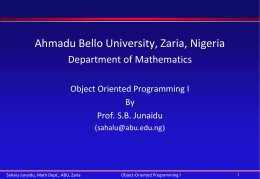 OOP I - Ahmadu Bello University