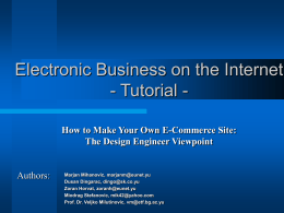eBusiness Tutorial - University of Belgrade