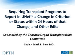 Plain Language Modifications and Requiring Transplant