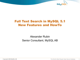 Full Text Search with MySQL 5_1_ New Features _ How To