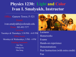 PowerPoint Presentation - Physics 1230: Light and Color