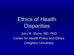 Ethics of Health Disparities