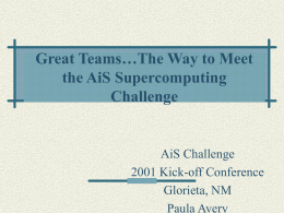 Team Building - The Supercomputing Challenge