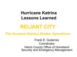 Hurricane Katrina Lessons Learned