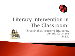 Literacy Intervention In The Classroom: