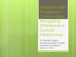 Research with Indigenous Communities: Navigating