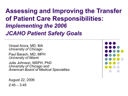 Assessing and Improving the Transfer of Patient Care