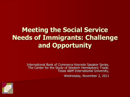 Meeting the Social Service Needs of Immigrants: Challenge
