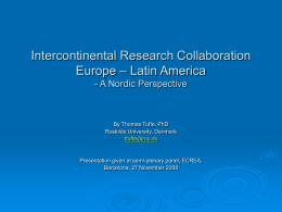 Intercontinental Research Collaboration Europe – Latin