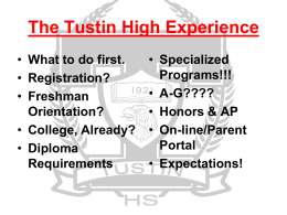 TUSTIN HIGH SCHOOL High School Planning for 12th …