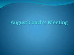 Fall Coach's Meeting
