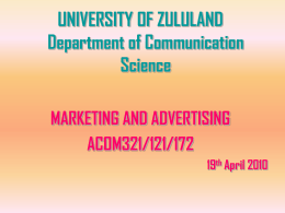 COMMUNICATION - University of Zululand