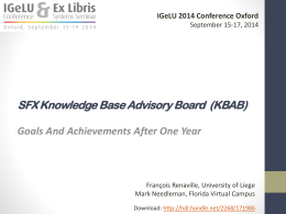 SFX Knowledge Base Advisory Board (KBAB): Goals And