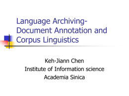 Language Archiving- Document annotation and Corpus …
