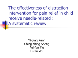 The effectiveness of distraction intervention for pain