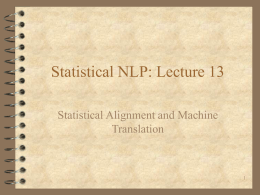 Csci 4152: Statistical Natural Language Procesing