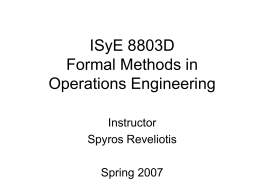 ISyE 8803D Formal Methods in Operations Engineering