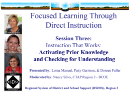 Explicit Direct Instruction - Tehama County Department …