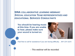 SINA collaborative learning webinar