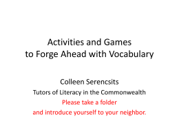 Activities and Games to Forge Ahead with Vocabulary
