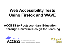 Web Accessibility Tests Using Firefox and WAVE
