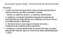 """Conclusiones grupo trabajo: """"Departamento de salud …"""