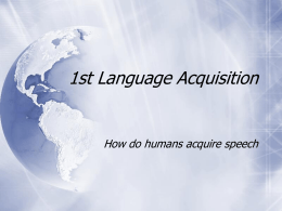 1st Language Acquisition