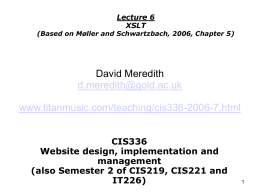 CIS336 Website design, implementation and management …