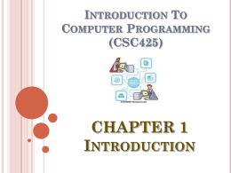 Computer Programming & Application (KJM463)