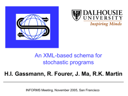 An XML-based schema for stochastic programs - COIN-OR