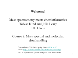 Cheminformatics and mass spectrometry course