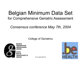 Belgian Minimum Data Set for Comprehensive Geriatric