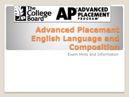 Advanced Placement English Language and Composition …