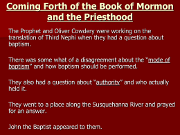 Coming Forth of the Book of Mormon and the Priesthood
