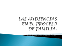 LAS AUDIENCIAS EN EL PROCESO DE FAMILIA.