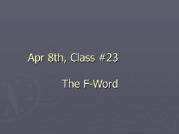 March 18th, Class #17