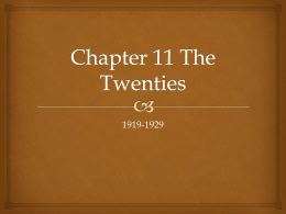 Chapter 11 The Twenties - Mr Powell's History Pages