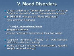 V. 기분장애(Mood Disorders)