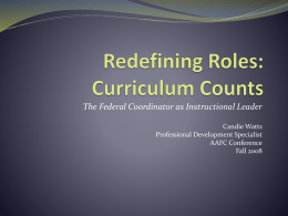 Redefining Roles: Curriculum Counts