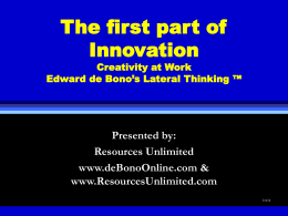 Edward de Bono's Course in Creativity