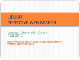 Information Research on the Web