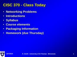 QMCS 490 - Class Today
