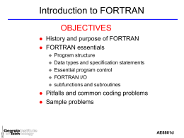 Intro to Fortran