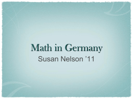 Math in Germany