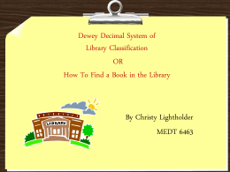 Dewey Decimal System of Library Classification
